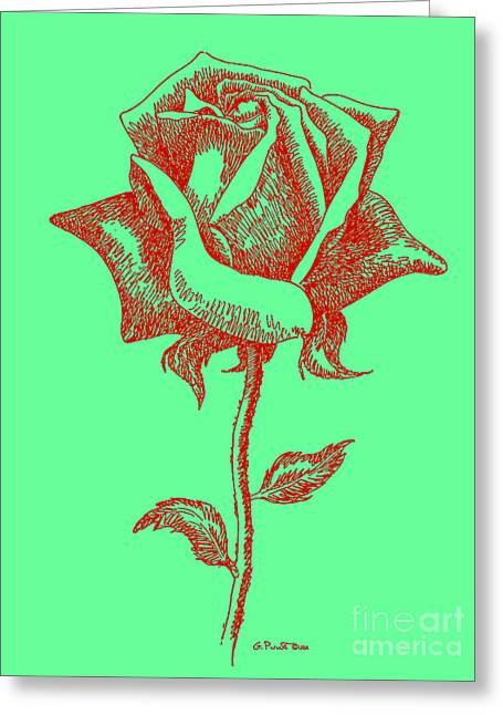 Red Rose Drawings 8 Greeting Card by Gordon Punt