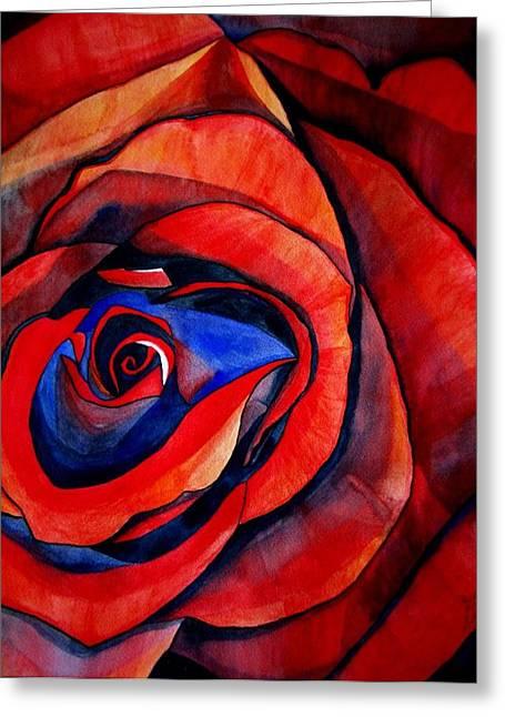 Red Rose Macro Greeting Card by Sacha Grossel
