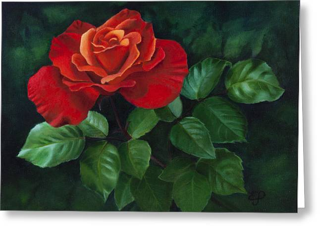 Red Rose - Oil Painting On Canvas Greeting Card