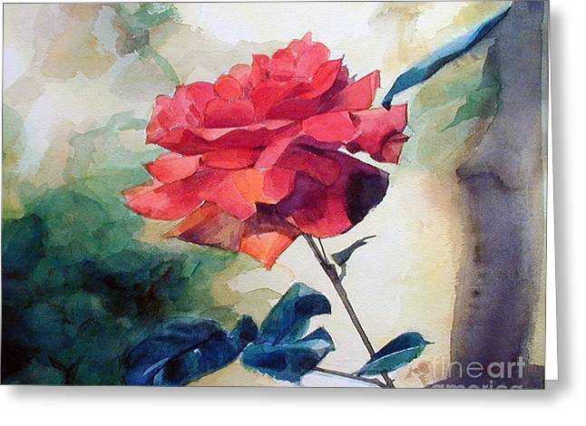 Watercolor Of A Single Red Rose On A Branch Greeting Card