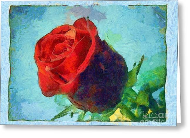 Red Rose On Blue Greeting Card by Dana Hermanova