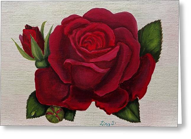 Red Rose Greeting Card by Zina Stromberg