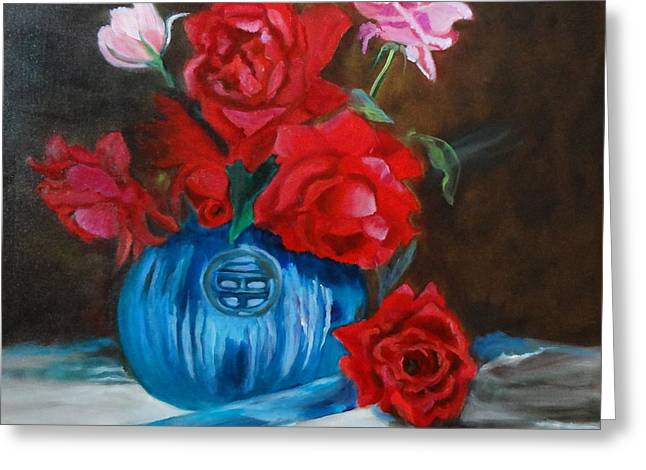 Red Roses And Blue Vase Greeting Card
