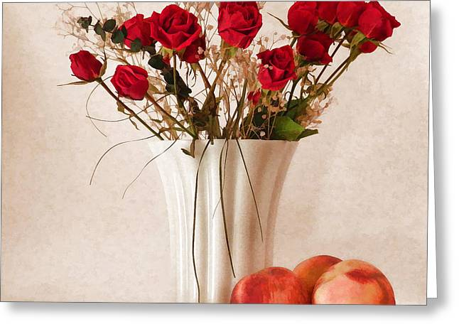 Red Roses And Three Peaches Greeting Card