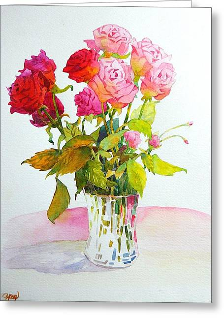 Red Roses Greeting Card by Celine  K Yong