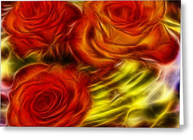 Greeting Card featuring the painting Red Roses In Water - Fractal  by Lilia D