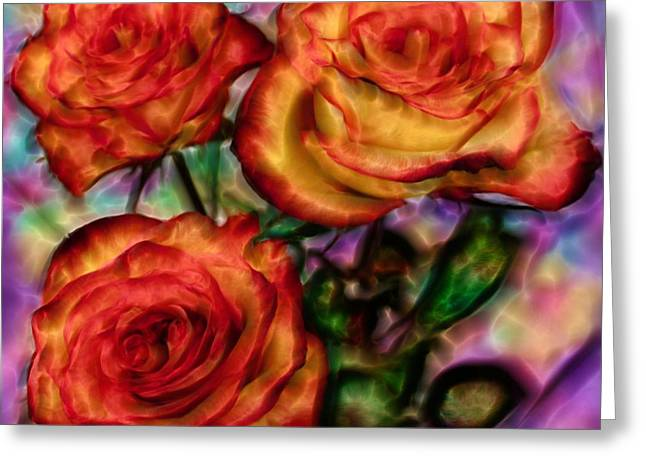 Greeting Card featuring the digital art Red Roses In Water - Silk Edition by Lilia D
