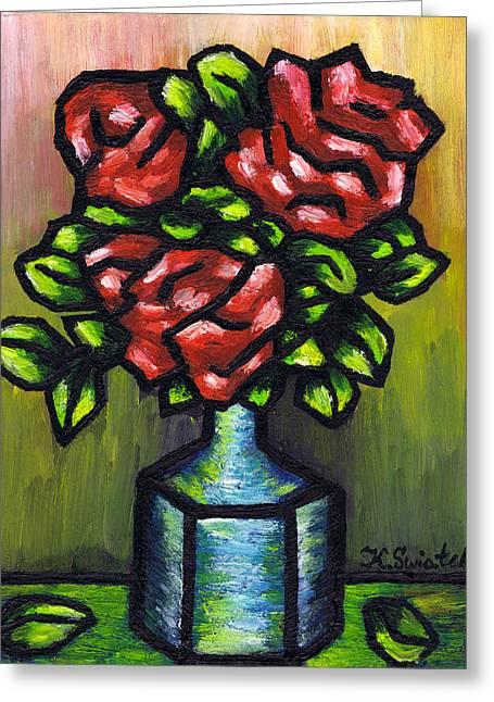 Red Roses Greeting Card by Kamil Swiatek