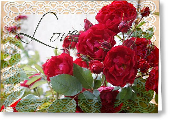 Greeting Card featuring the photograph Red Roses Love And Lace by Sandra Foster
