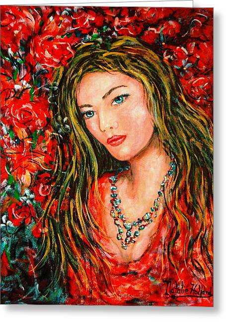 Red Roses Greeting Card by Natalie Holland