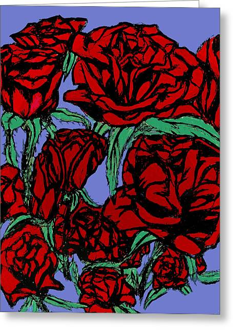 Red Roses On Parade Greeting Card by Tiffany Selig