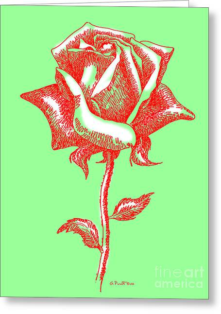 Red Roses Paintings 3 Greeting Card by Gordon Punt