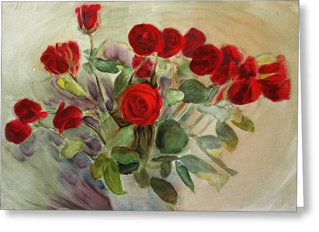Red Roses Greeting Card by Tanya Byrd