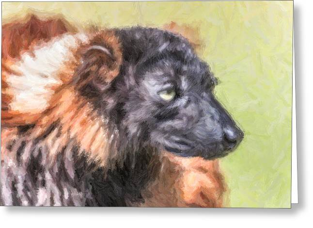 Red-ruffed Lemur Greeting Card by Liz Leyden