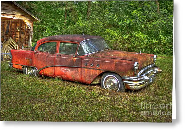 Red Rusty Buick Greeting Card by Reid Callaway