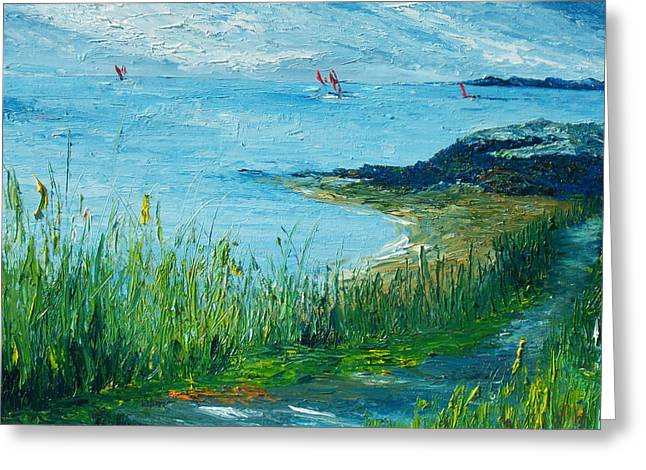 Red Sails In Galway Bay Greeting Card by Conor Murphy