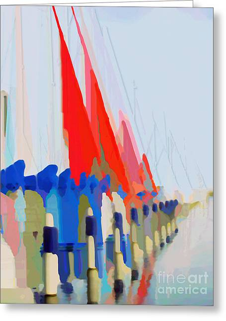 Red Sails In The Sunset Greeting Card by Luc Van de Steeg