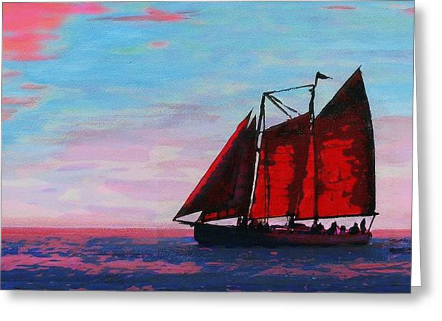 Red Sails On The Chesapeake - New Multimedia Acrylic/oil Painting Greeting Card