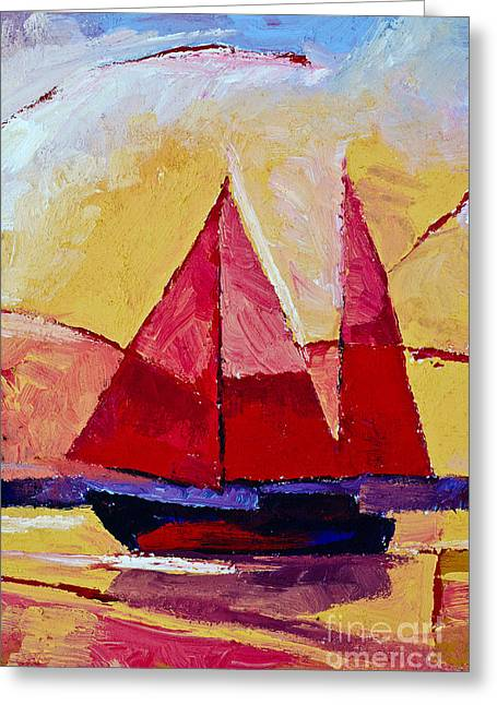Red Sails Painting Greeting Card by Lutz Baar