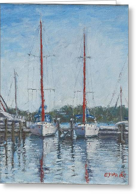 Red Sails Under Gray Sky Greeting Card