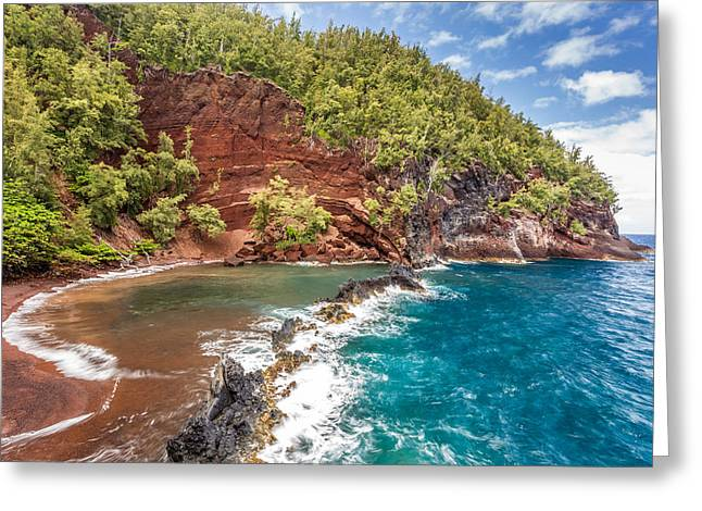 Red Sand Beach Maui Greeting Card by Pierre Leclerc Photography