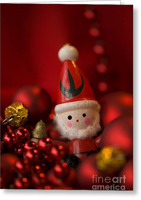 Red Santa Greeting Card by Anne Gilbert
