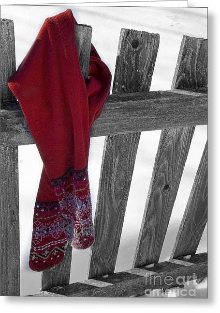 Red Scarf Hanging On Fence Greeting Card by Birgit Tyrrell