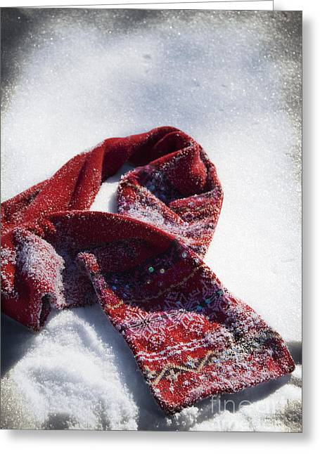 Red Scarf In Snow Greeting Card by Birgit Tyrrell