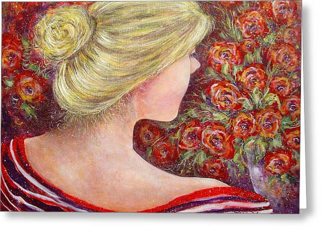 Greeting Card featuring the painting Red Scented Roses by Natalie Holland