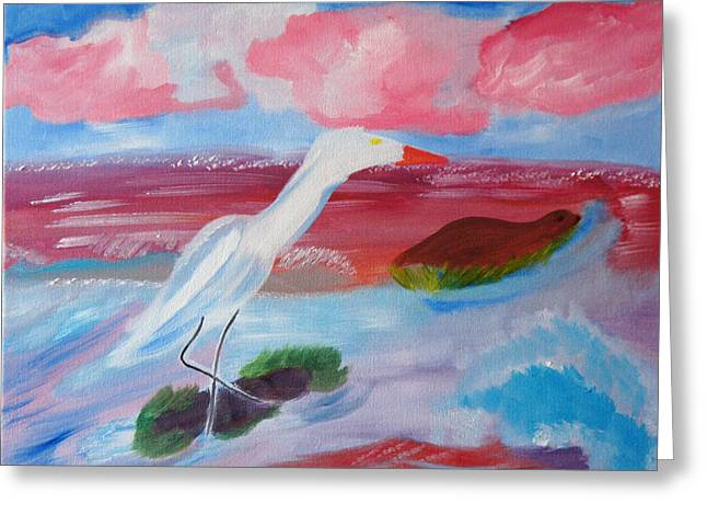 Greeting Card featuring the painting Red Seas Calling by Meryl Goudey