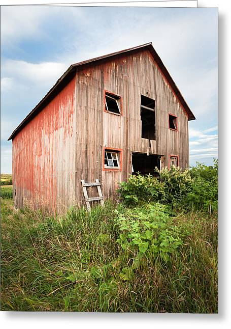 Greeting Card featuring the photograph Red Shack On Tucker Rd - Vertical Composition by Gary Heller