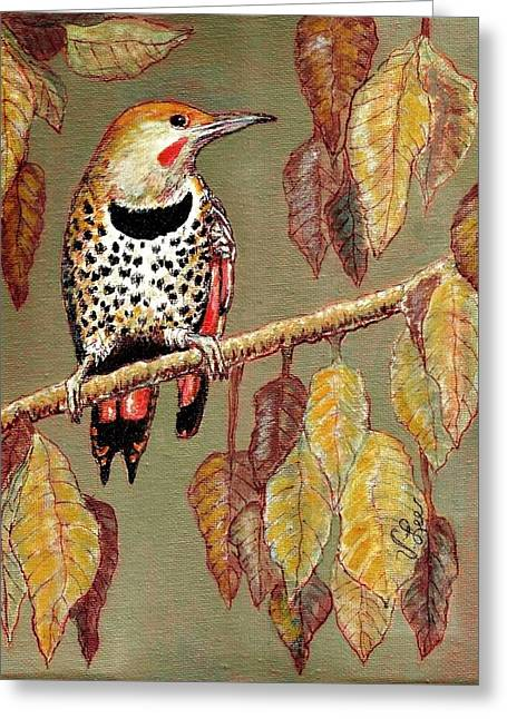 Greeting Card featuring the painting Red Shafted Flicker by VLee Watson