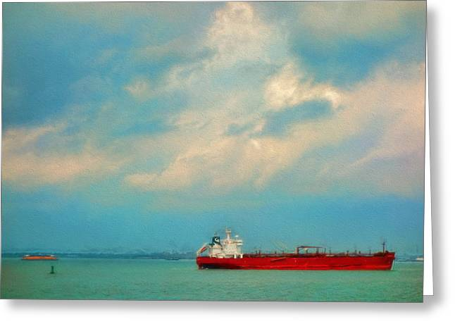 Red Ship In Oils Greeting Card