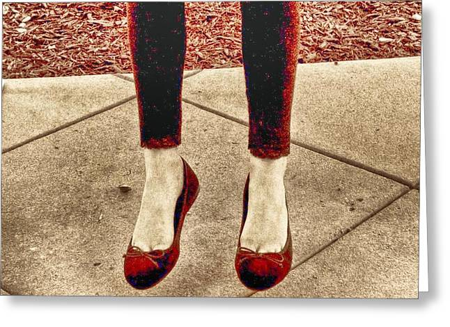 Red Shoes Greeting Card by Kristina Deane