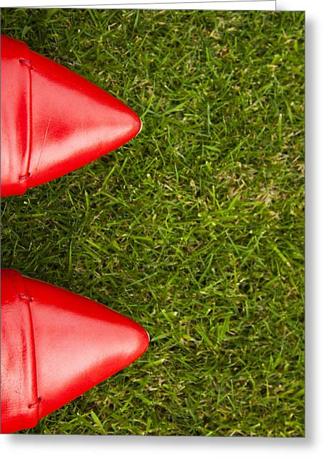 Red Shoes On Grass Greeting Card