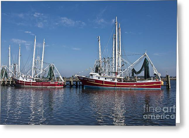 Red Shrimp Boats Greeting Card by Joan McCool