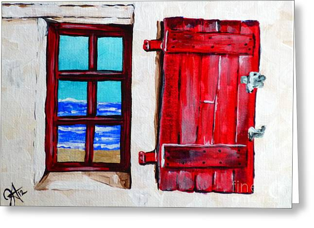 Red Shutter Ocean Greeting Card by Jackie Carpenter