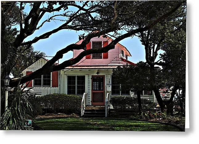 Greeting Card featuring the photograph Red Shutters Cottage by Laura Ragland