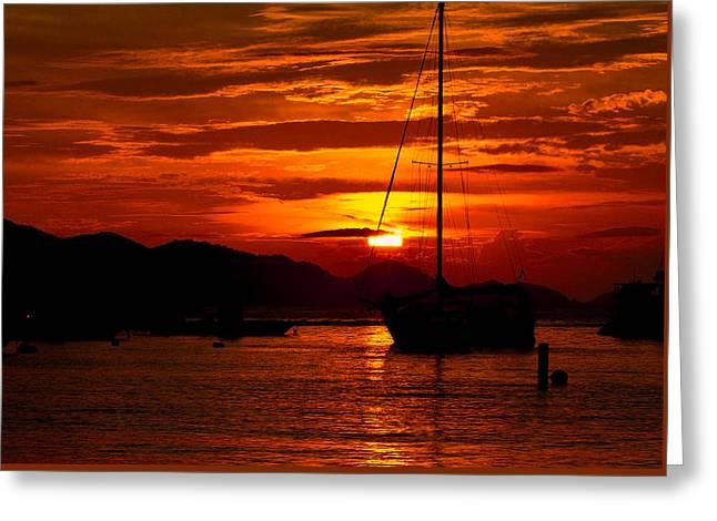 Red Skies At Night Sailors Delight Greeting Card
