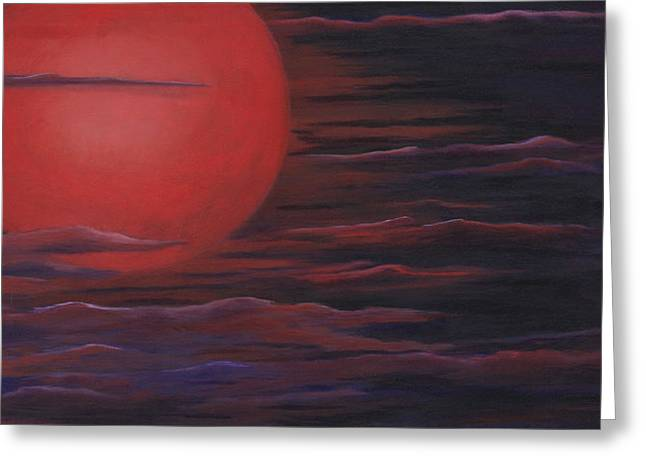 Greeting Card featuring the painting Red Sky A Night by Michelle Joseph-Long