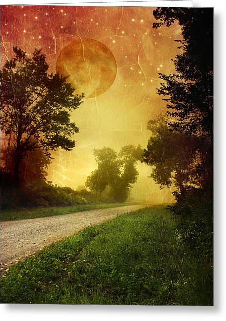 Red Sky Along Starry Pathway Greeting Card
