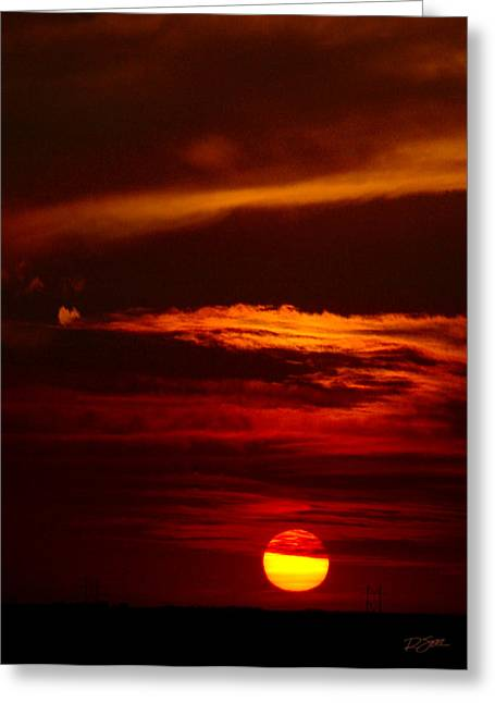 Red Sky At Night Vertical Greeting Card