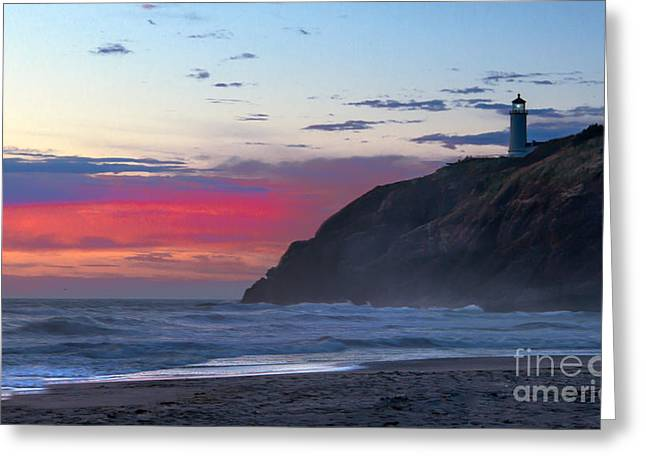Red Sky At North Head Lighthouse Greeting Card
