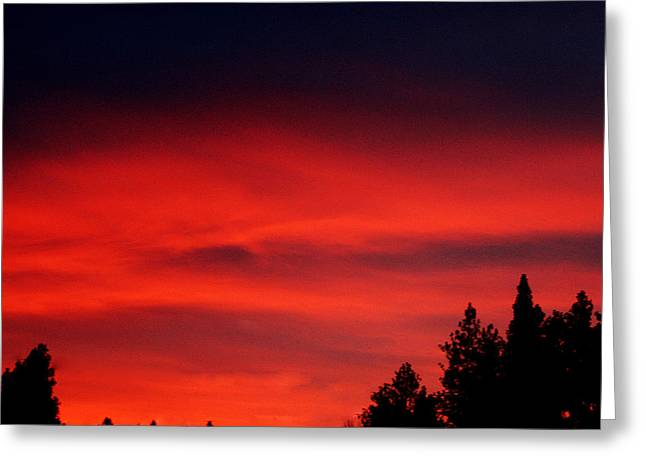 Red Sky In  The Bitterroot  Greeting Card by Larry Stolle