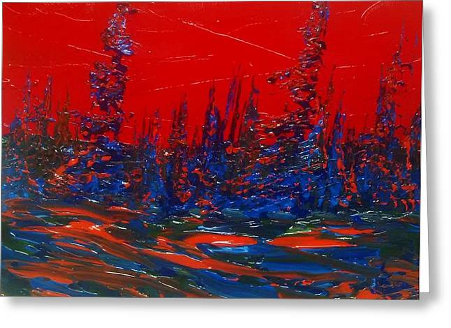 Red Sky Night Greeting Card