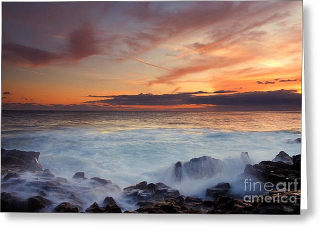 Red Sky Over Paradise Greeting Card by Mike Dawson