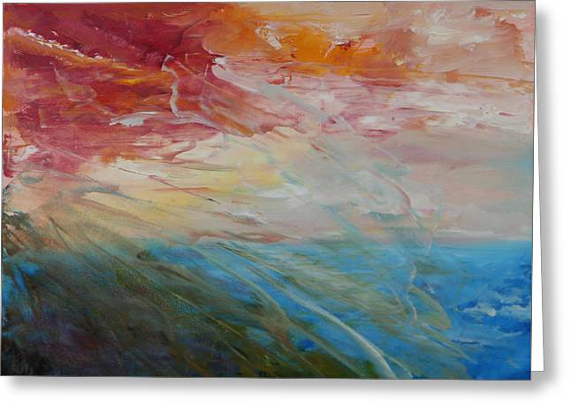 Greeting Card featuring the painting Red Sky by Sandra Nardone