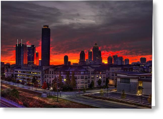Red Sky Sunrise Midtown Atlanta Greeting Card