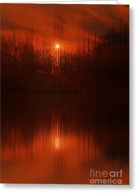Red Sky Sunset Greeting Card by Tom York Images