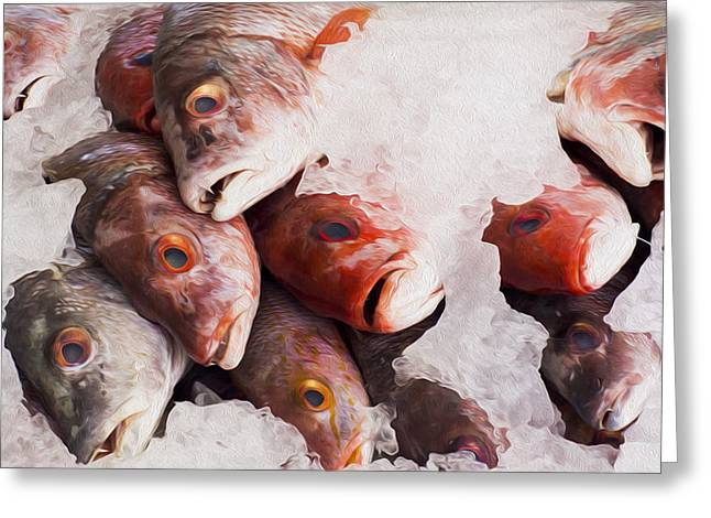 Red Snapper Greeting Card by Aged Pixel
